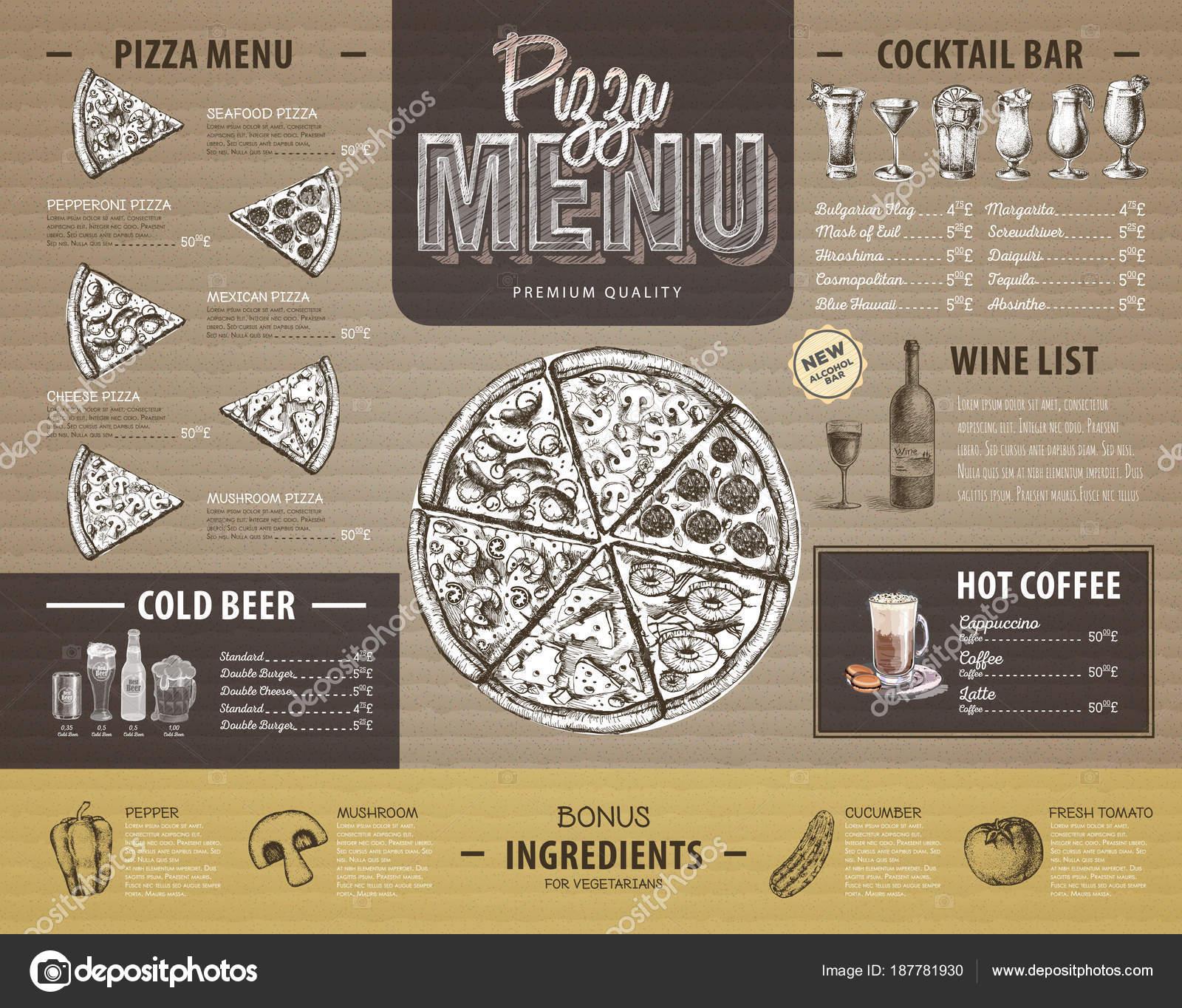Vintage pizza men design auf karton speisekarte des for Karton design