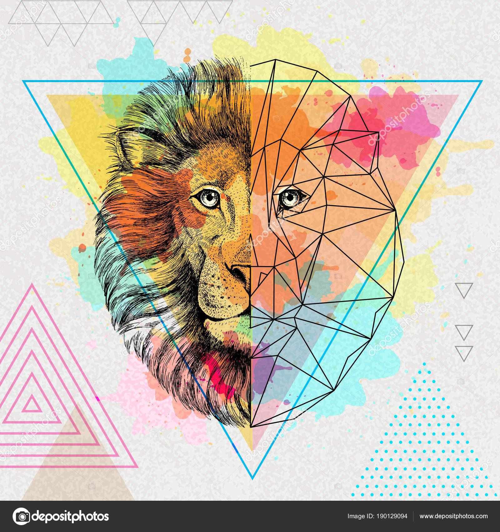 Hipster animales realistas y poligonal León en artística fondo ...