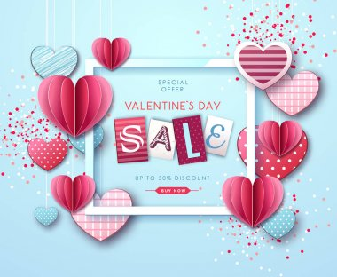 Happy Valentine`s day background with love hearts. Valentine`s day sale poster