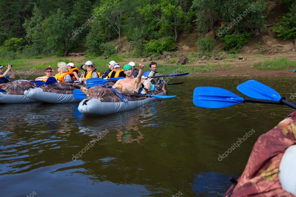 Canoeing on the Kama river, Doksha district, Russia - 07.06.2014: Editorial.