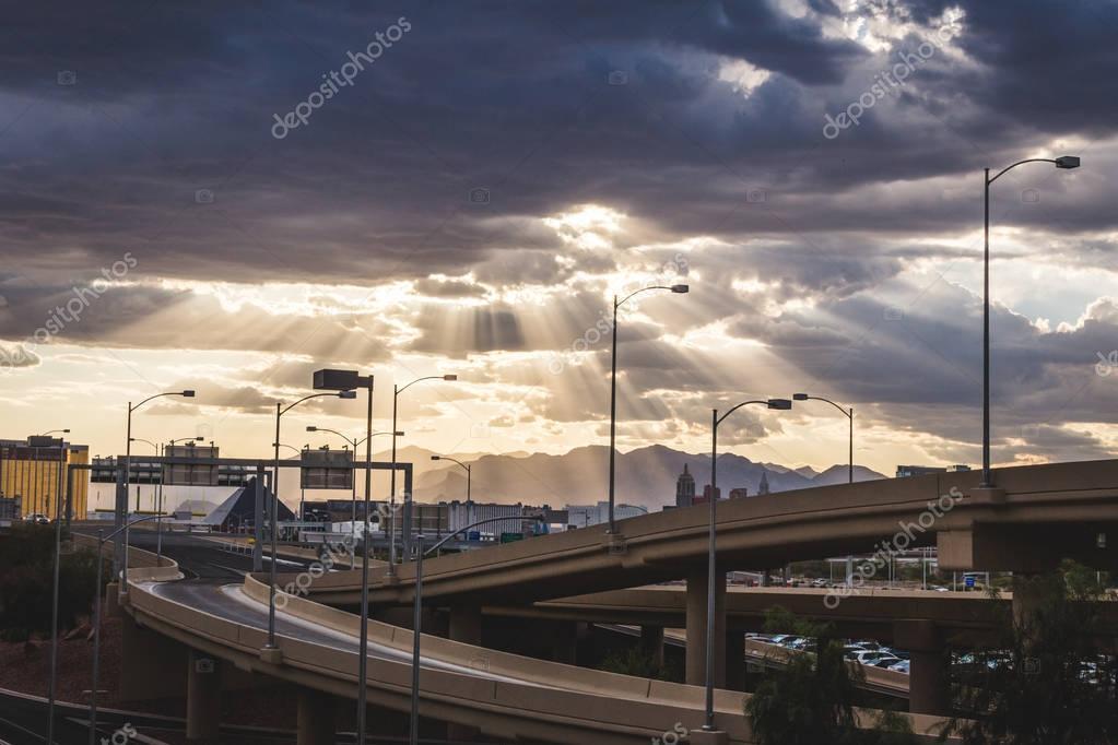 Sun Rays Shining Down Over Las Vegas