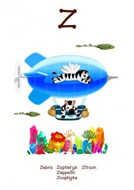English Alphabet series of Amusing Animals letter Z