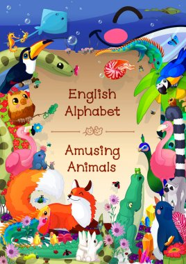 Book cover for English Alphabet series of Amusing Animals.