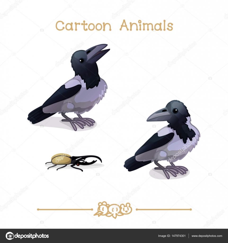 Toons Serie cartoon Tiere: Krähen und Hercules Käfer — Stockvektor ...