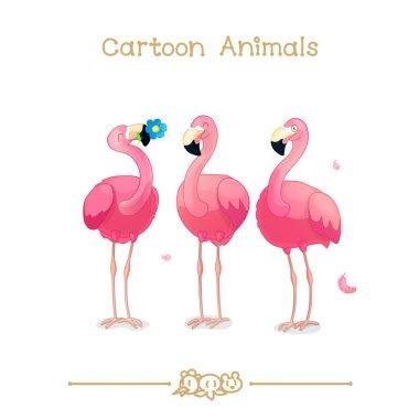 Toons series cartoon animals: pink flamingos
