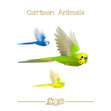 Toons series cartoon animals: flying budgerigar