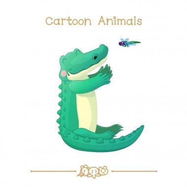 Toons series cartoon animals: crocodile and dragonfly
