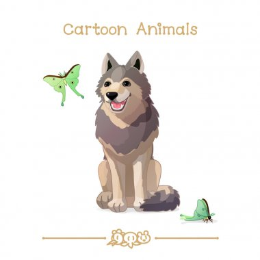 Toons series cartoon animals: Gray happy wolf and butterflies