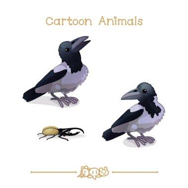 Toons series cartoon animals: Crows and hercules beetle