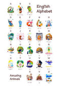 Fotografie English Alphabet series of Amusing Animals. All 26 letters in one poster file