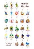 Anglická abeceda série zábavné zvířat. Všech 26 písmen v jednom plakátu souboru