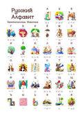 Ruská abeceda série zábavné zvířat. Všech 33 písmen v jednom plakátu souboru