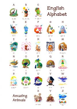 English Alphabet series of Amusing Animals. All 26 letters in one poster file