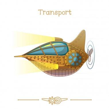 Illustration series cartoon transport: Submarine Nautilus