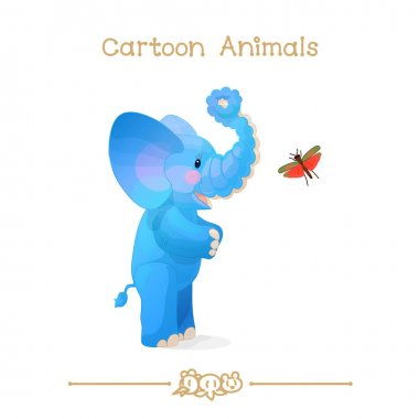 Toons series cartoon animals: african elephant & grasshopper