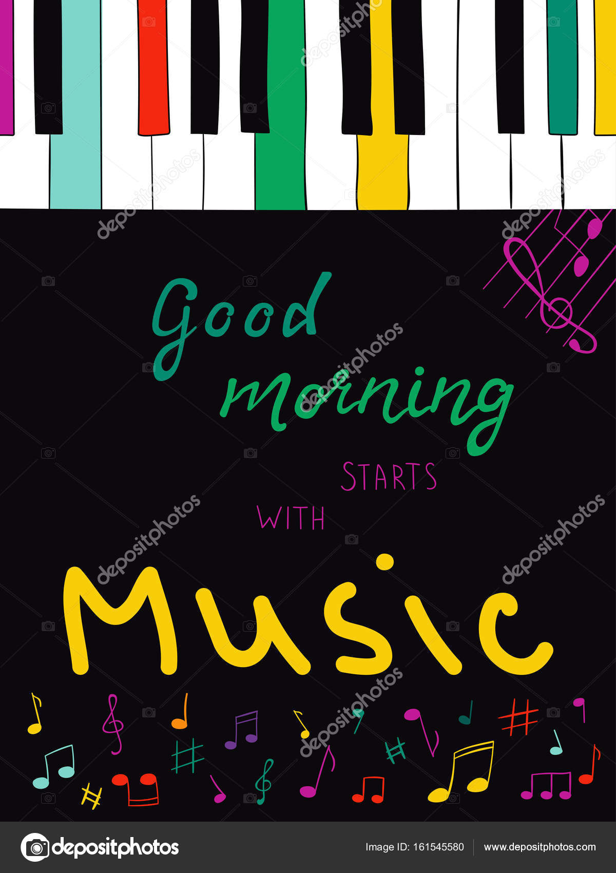 Vector Illustration With Hand Lettering Text Good Morning