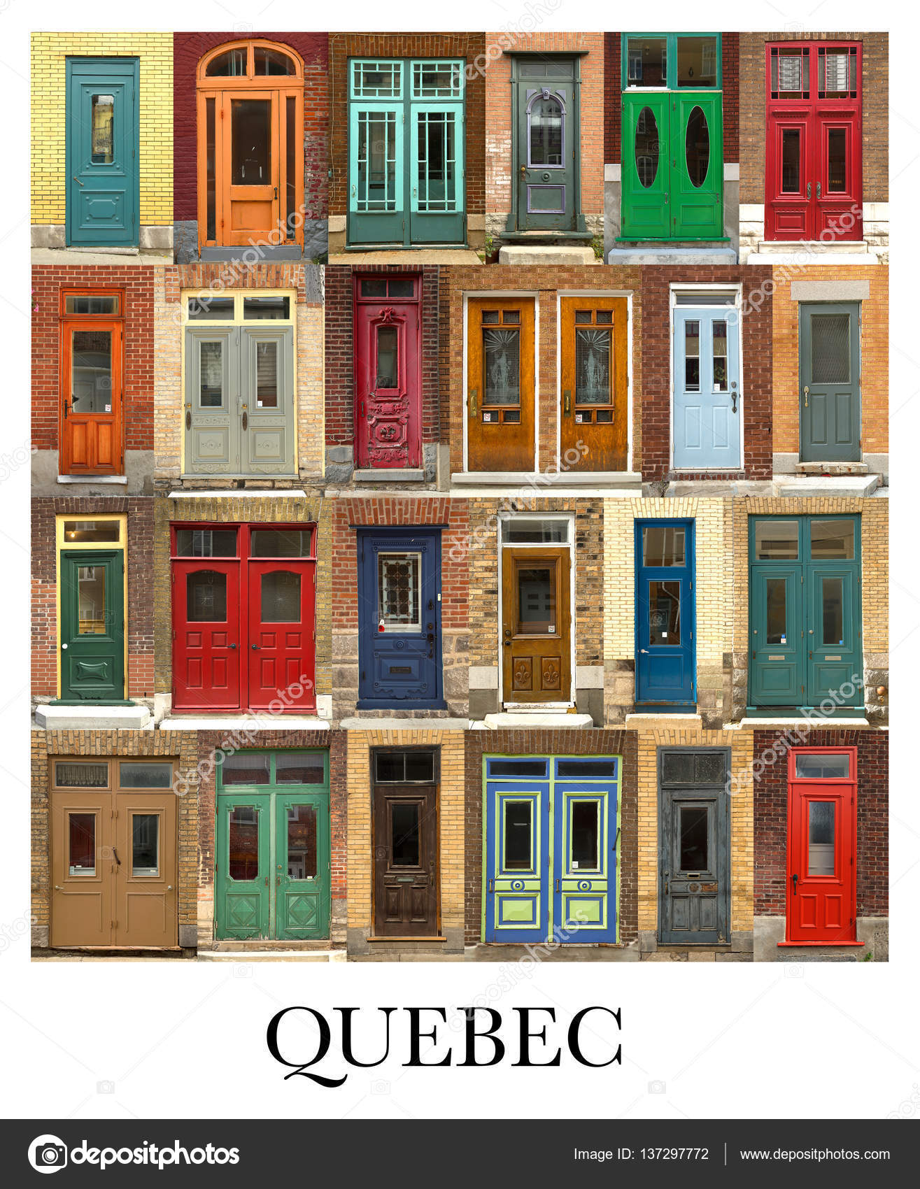 doors collage from quebec city in canada stock photo a c pinkcandy