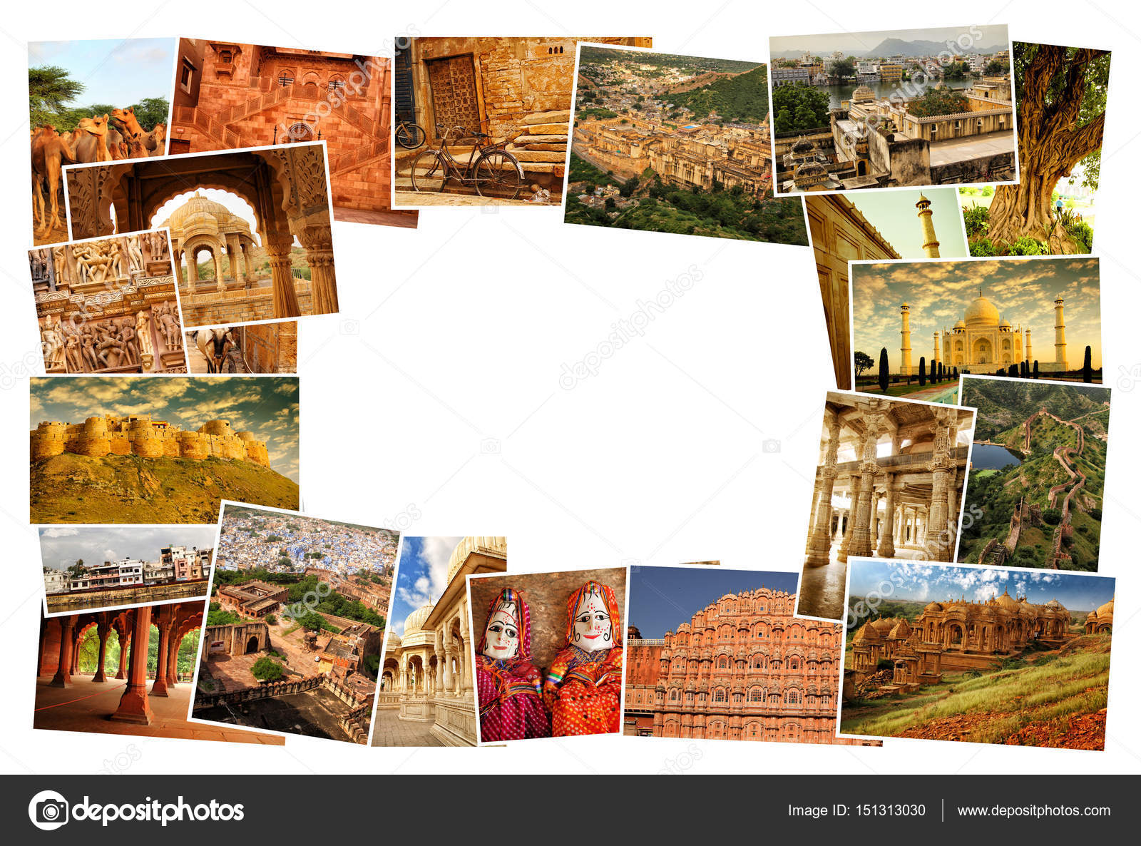 Collage Of Images From Famous Location In Rajasthan India With Copy Space The Middle On White Background Photo By Pinkcandy