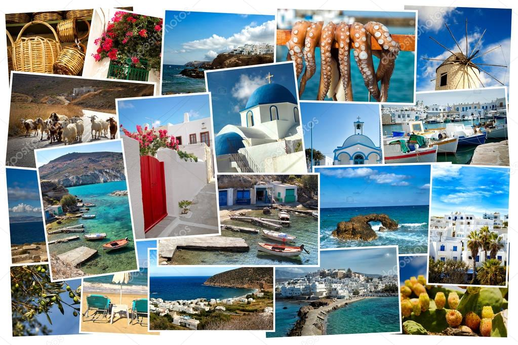 Collage pictures of Cyclades island in Greece