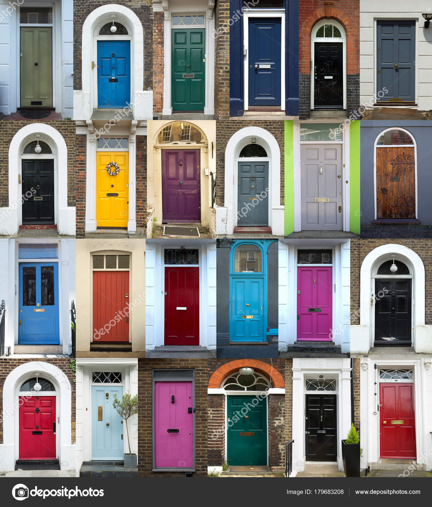 Collage of 24 old and colorful doors from London UK u2014 Photo by pinkcandy & Colorful doors in London u2014 Stock Photo © pinkcandy #179683208