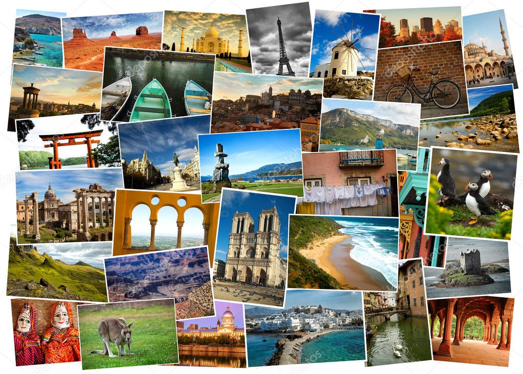 Collage of pictures from everywhere in the world