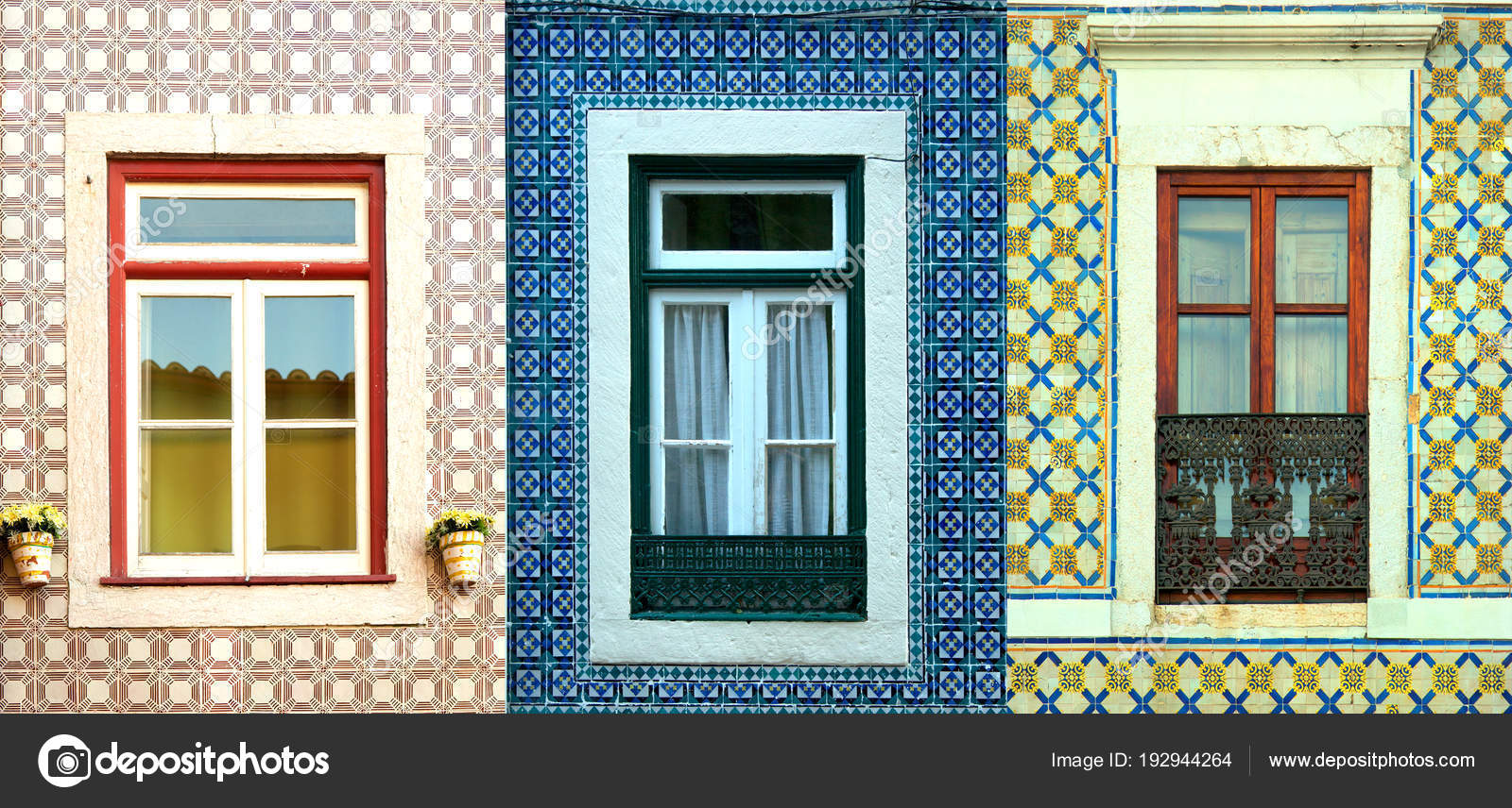 Collage of windows in Portugal with tiles — Stock Photo