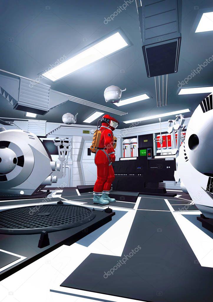 astronaute et vaisseau spatial int rieur photographie innovari 134356742. Black Bedroom Furniture Sets. Home Design Ideas