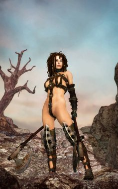 Fantasy female warrior with axes