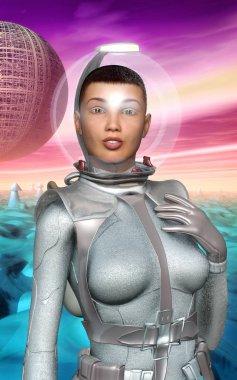 Astronaut girl retro on alien planet