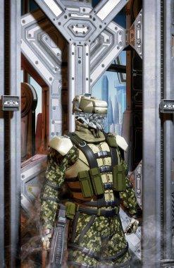 Robot soldier trooper  3D render science fiction illustration