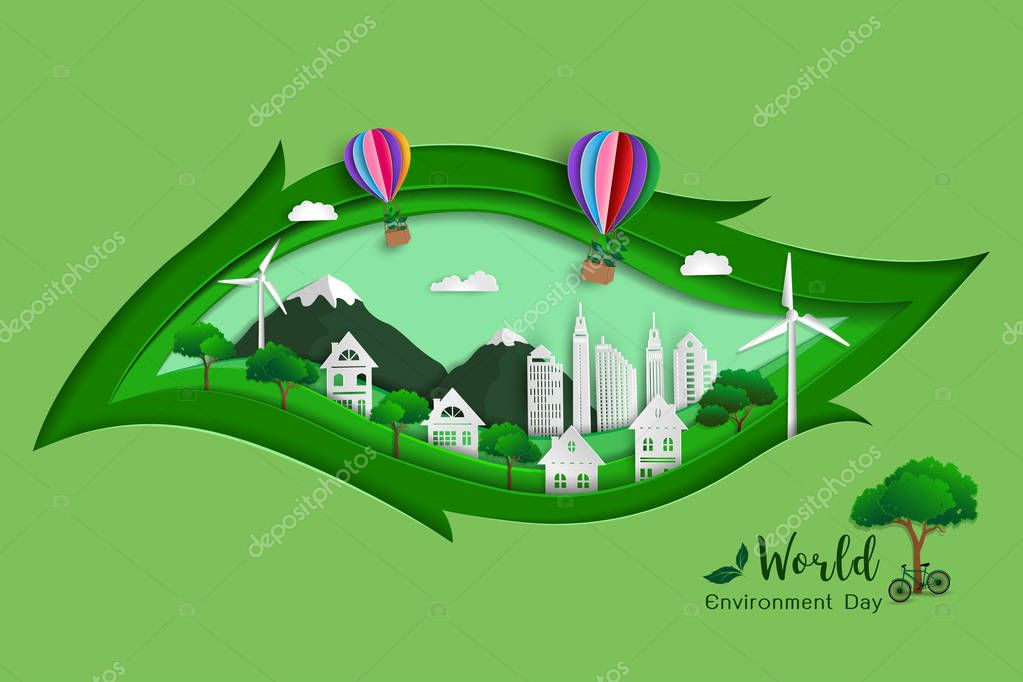 Concept of green eco friendly save the world and environment,paper art design with leaf shape background