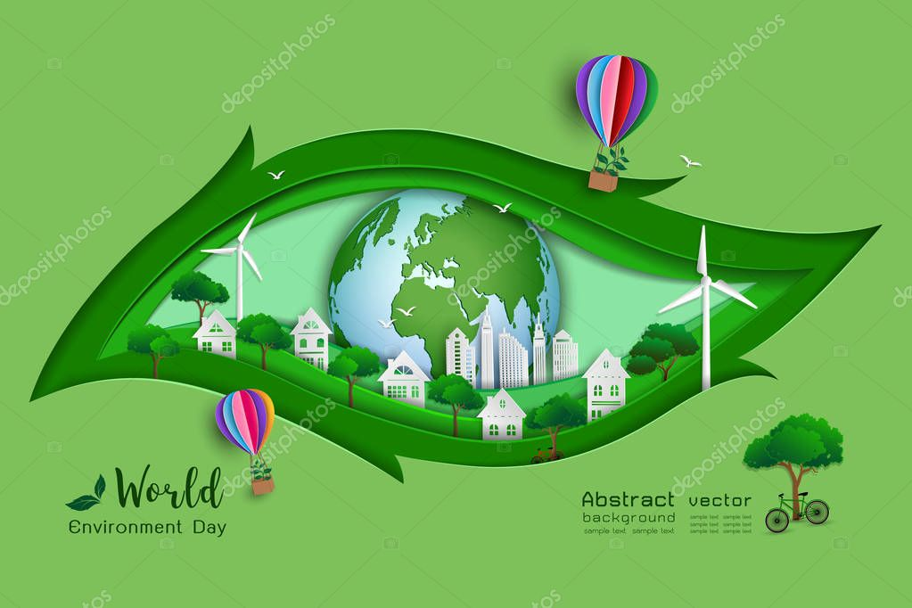 Green eco friendly save the world and environment concept,paper art and craft design with leaf shape background