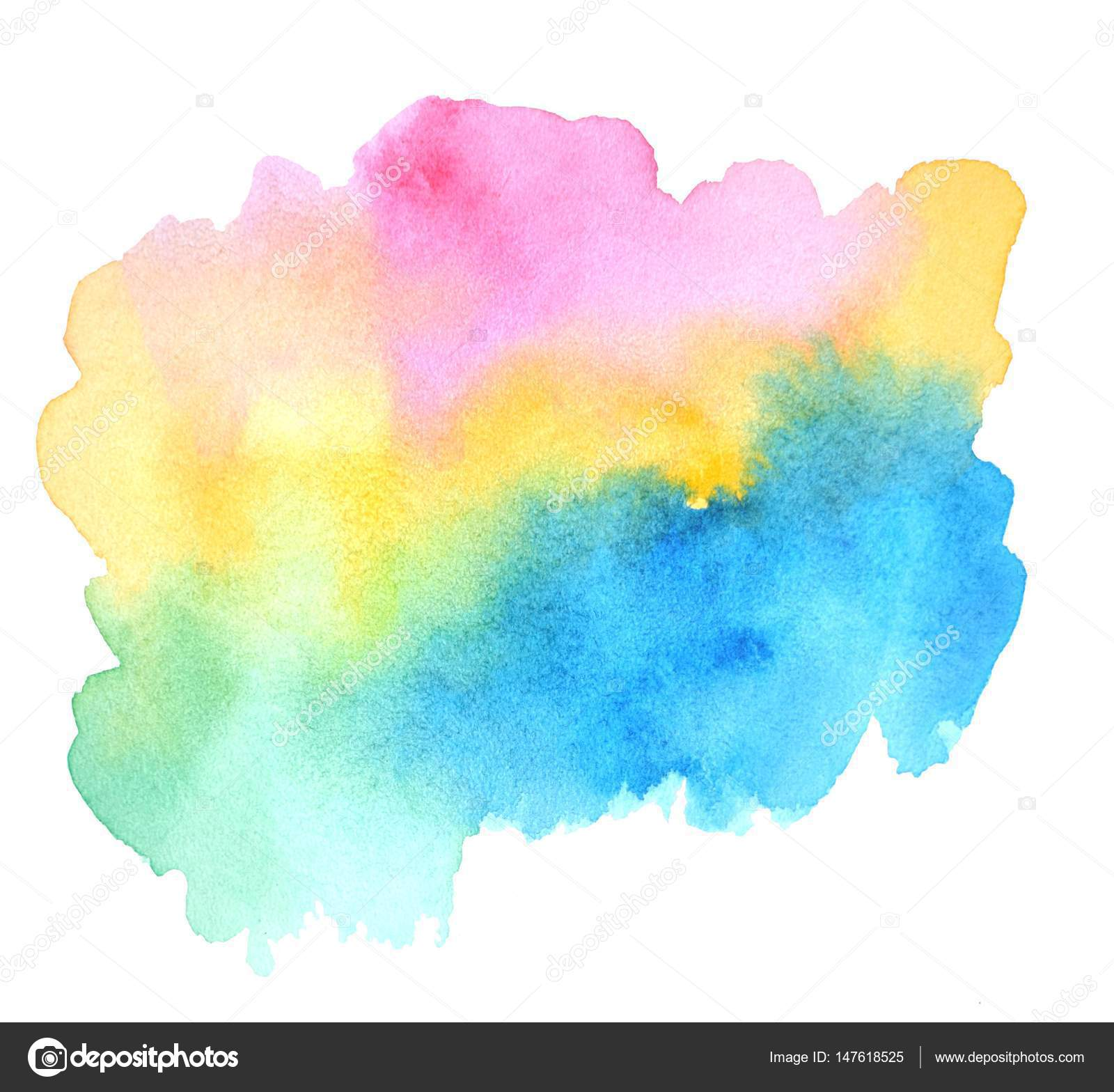 pink yellow green blue watercolor blot for your design