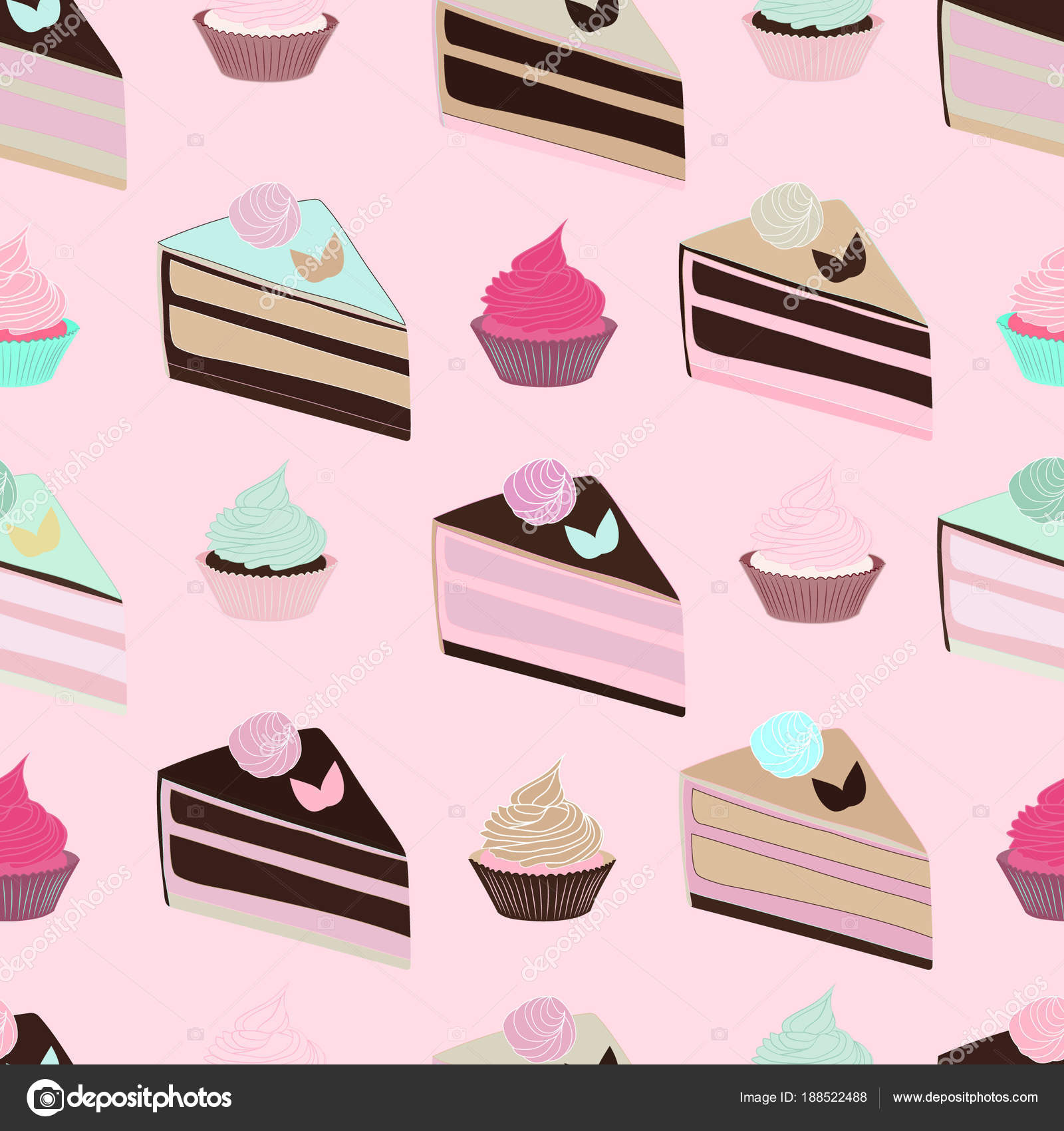 Seamless Pattern Cakes Cupcakes Pink Background Cute Party Birthday Stock Vector
