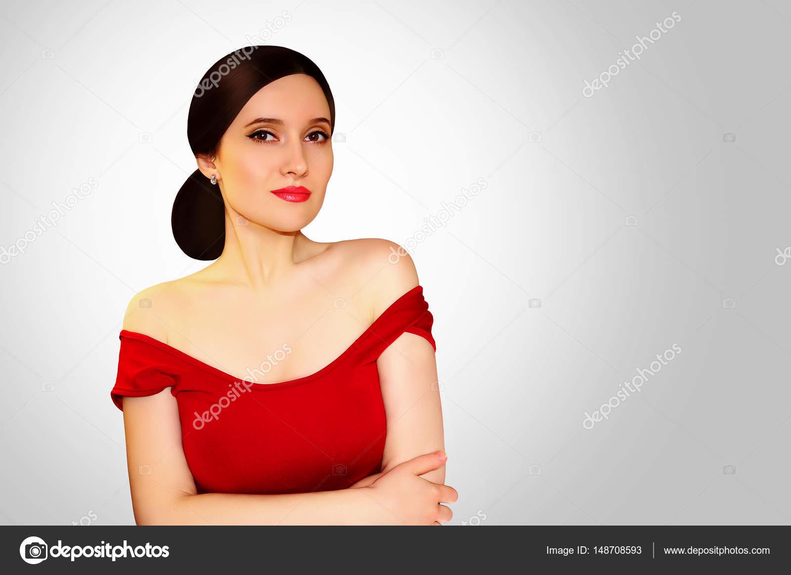 153b828fc64 Όμορφο κορίτσι σε ένα κόκκινο φόρεμα με γυμνούς ώμους και κόκκινο κραγιόν  στο ανοιχτό γκρι φόντο — Εικόνα από ...