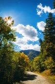 Tsaghkunyats montagna Aghveran, Armenia. Paesaggio della bella strada con montagne verdi e magnifico cielo nuvoloso