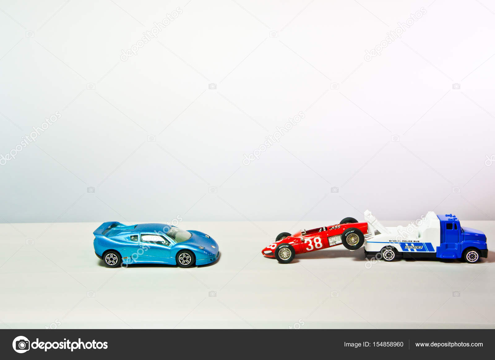 Merveilleux Iu0027m Taking The Red Sport Toy Car To The Police. U2014 Stock  Photo