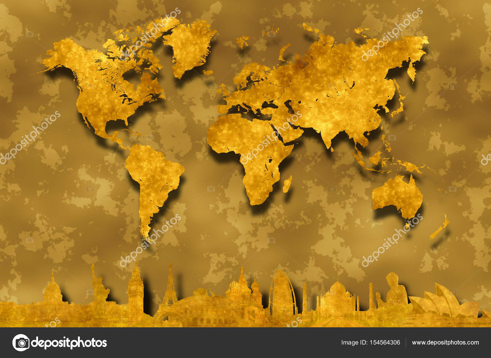 Gold world map on abstract golden background with golden silhouettes gold world map on abstract golden background with golden silhouettes of famous world landmarks from washington new york london paris rome moscow dubai gumiabroncs Image collections