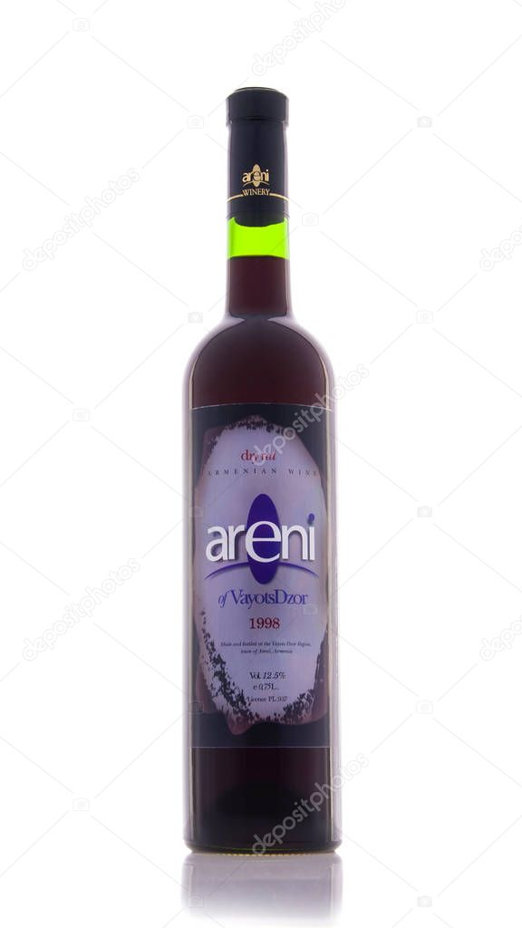 Yerevan, Armenia - June 10, 2013: Bottle of Armenian dry red wine isolated on white background. Armenian grape wines from Areni Wine Factory