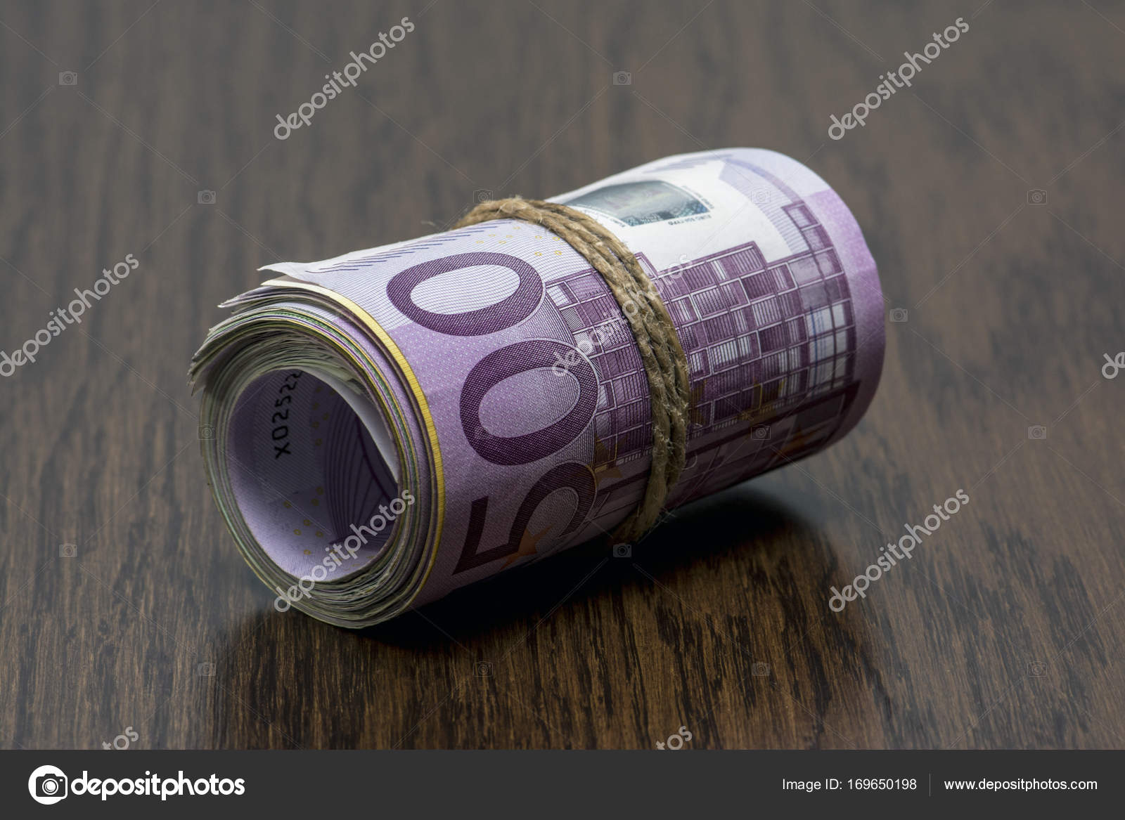 Macro Detail Of A Roll Of Euro Currency Eur With 500 200 100 And
