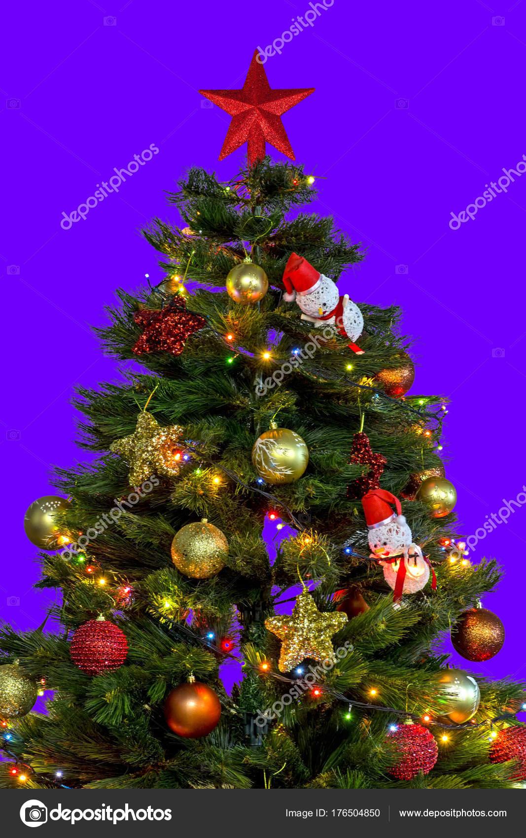 Christmas Tree Big Red Star Top Decoration Lights Small Pendants — Stock Photo