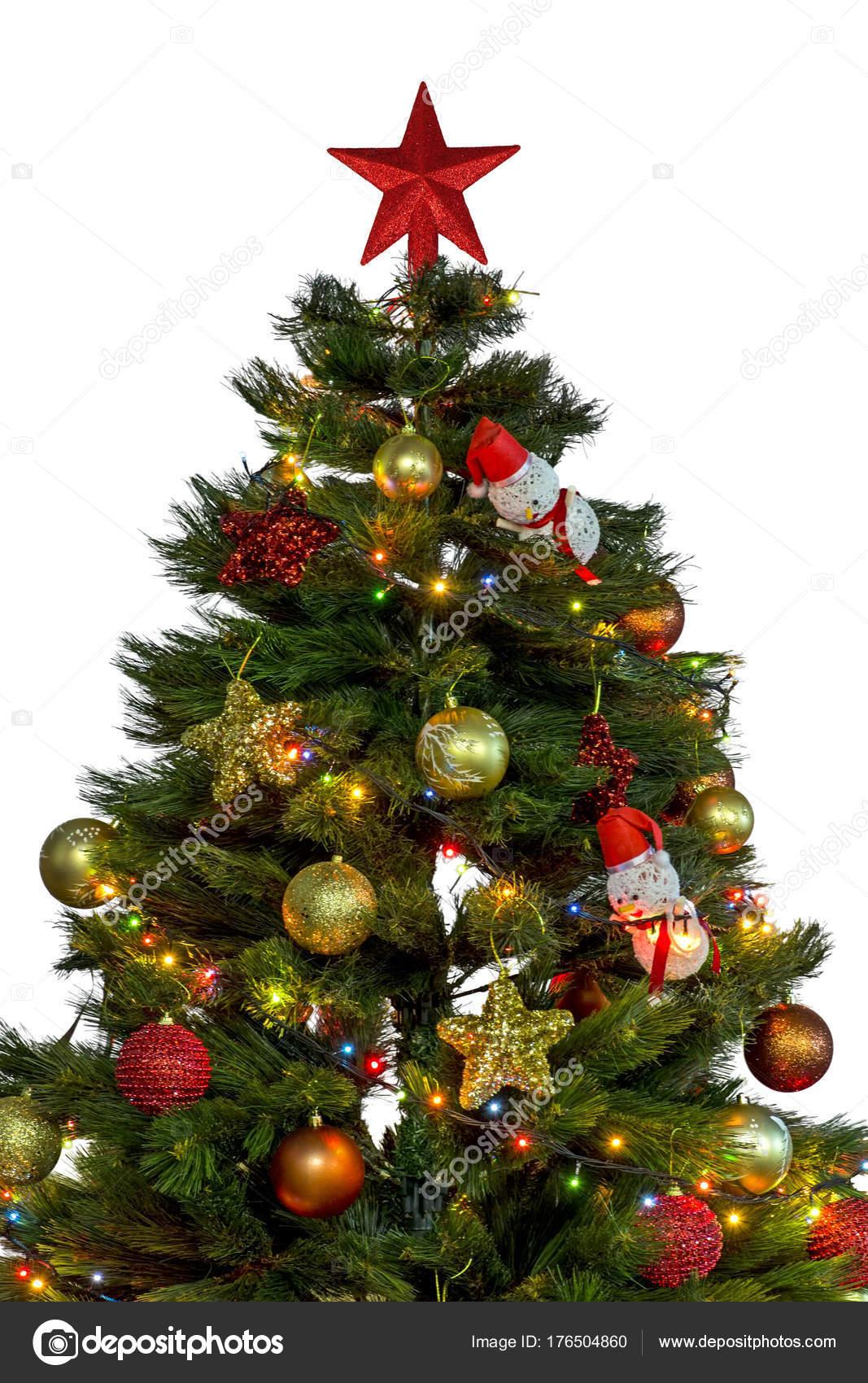 Kerstboom Met Grote Rode Ster Top Van Het Decoratie Met Stockfoto