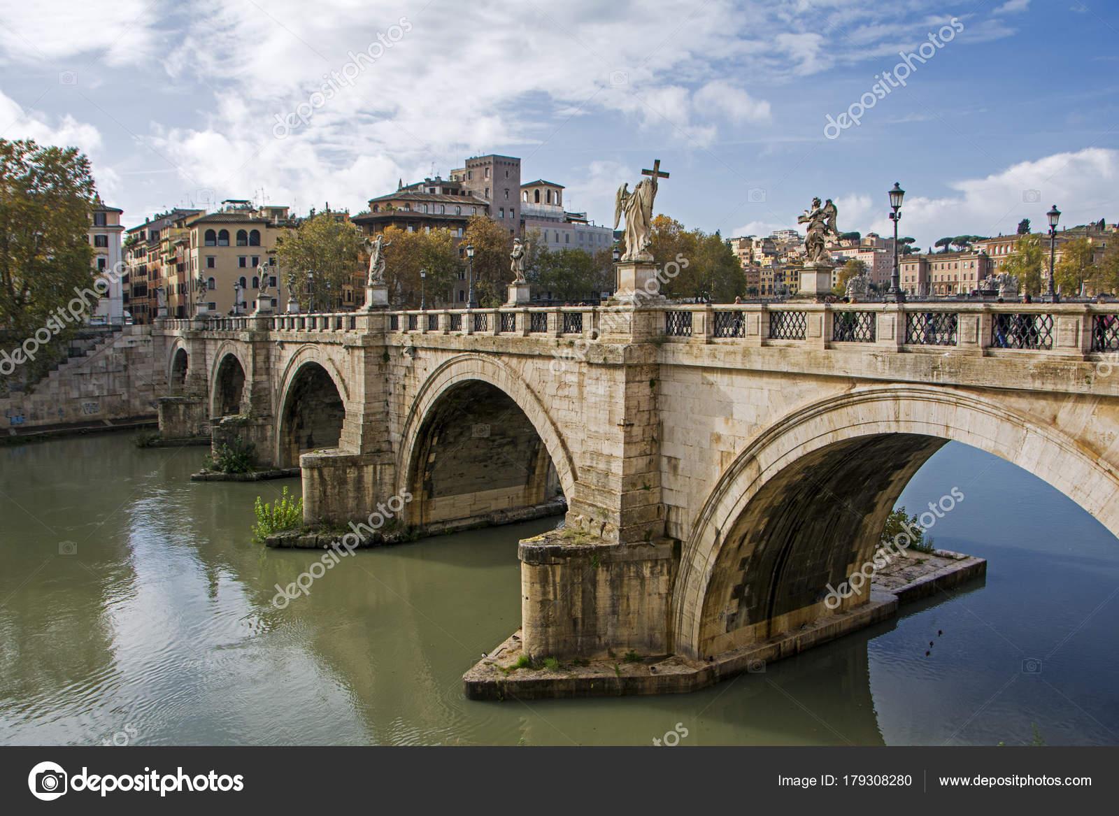 Ponte Sant Angelo Angelo Bridge Tiber River Rome Italy