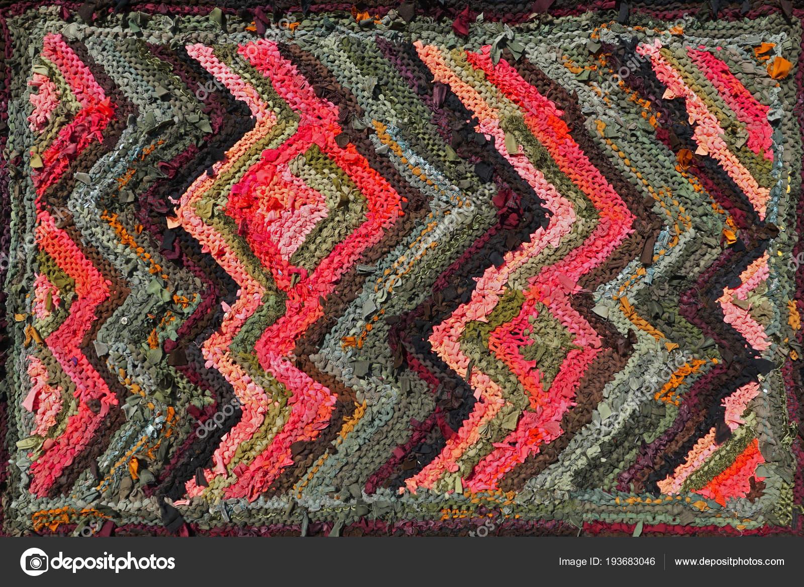 Tappeti In Tessuto Riciclato : Primo piano astratto tappeto fatto mano macro modello tappeto