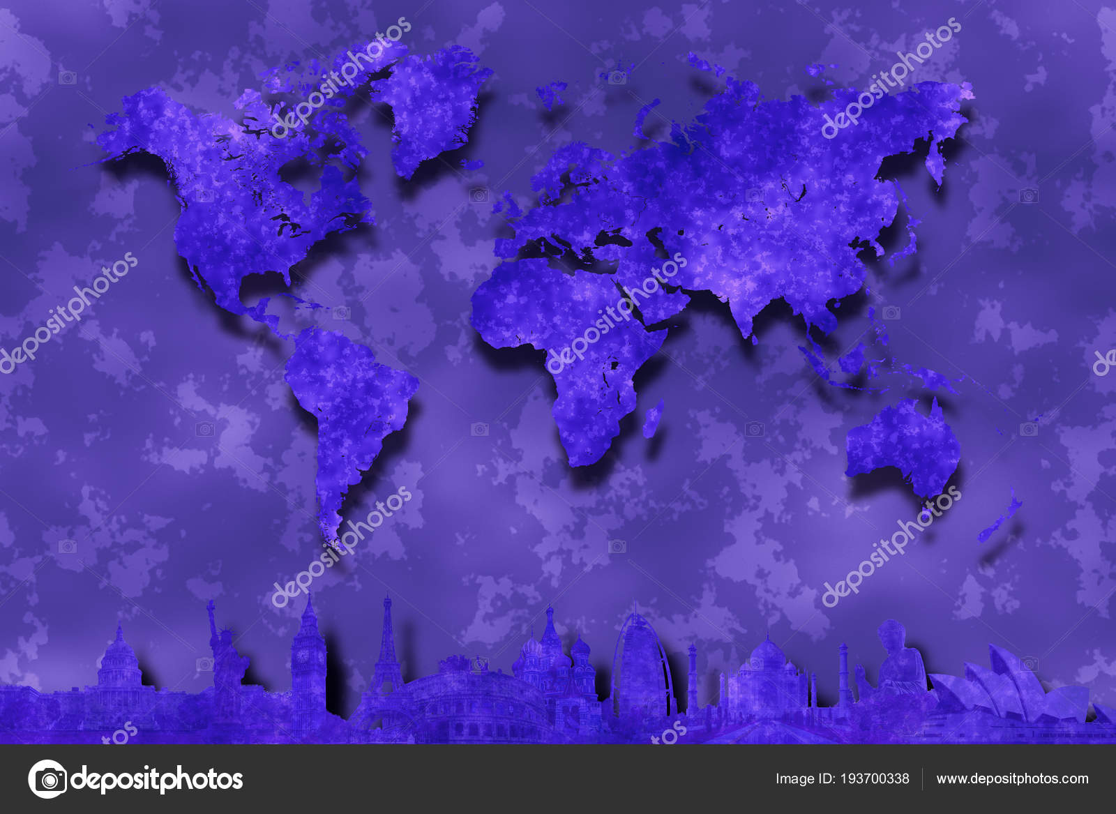 Purple world map abstract background silhouettes famous world purple world map on abstract background with silhouettes of famous world landmarks from washington new york london paris rome moscow dubai agra gumiabroncs Image collections