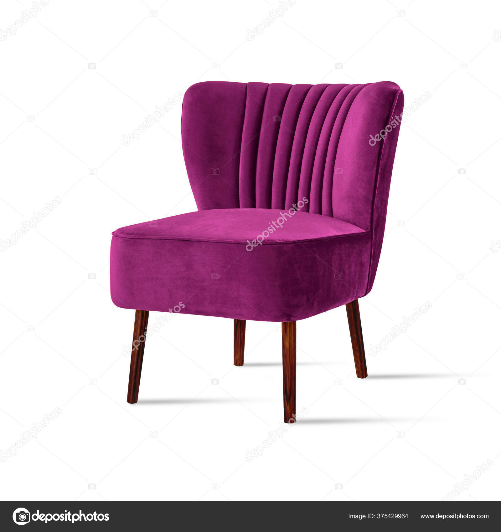 Classic Armchair Art Deco Style Hot Pink Velvet Wooden Legs Stock Photo C Artavet 375429964