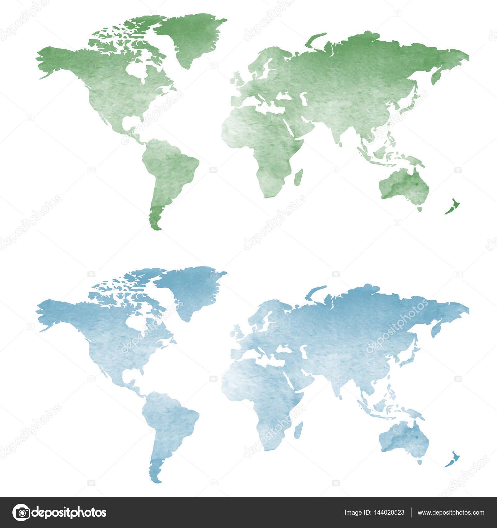 Sulu Boya Doku Dünya Haritası Stok Vektör Pixxart 144020523
