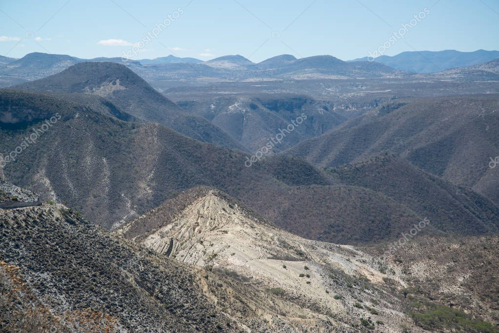 Mountain view from the road in Oaxaca, Mexico