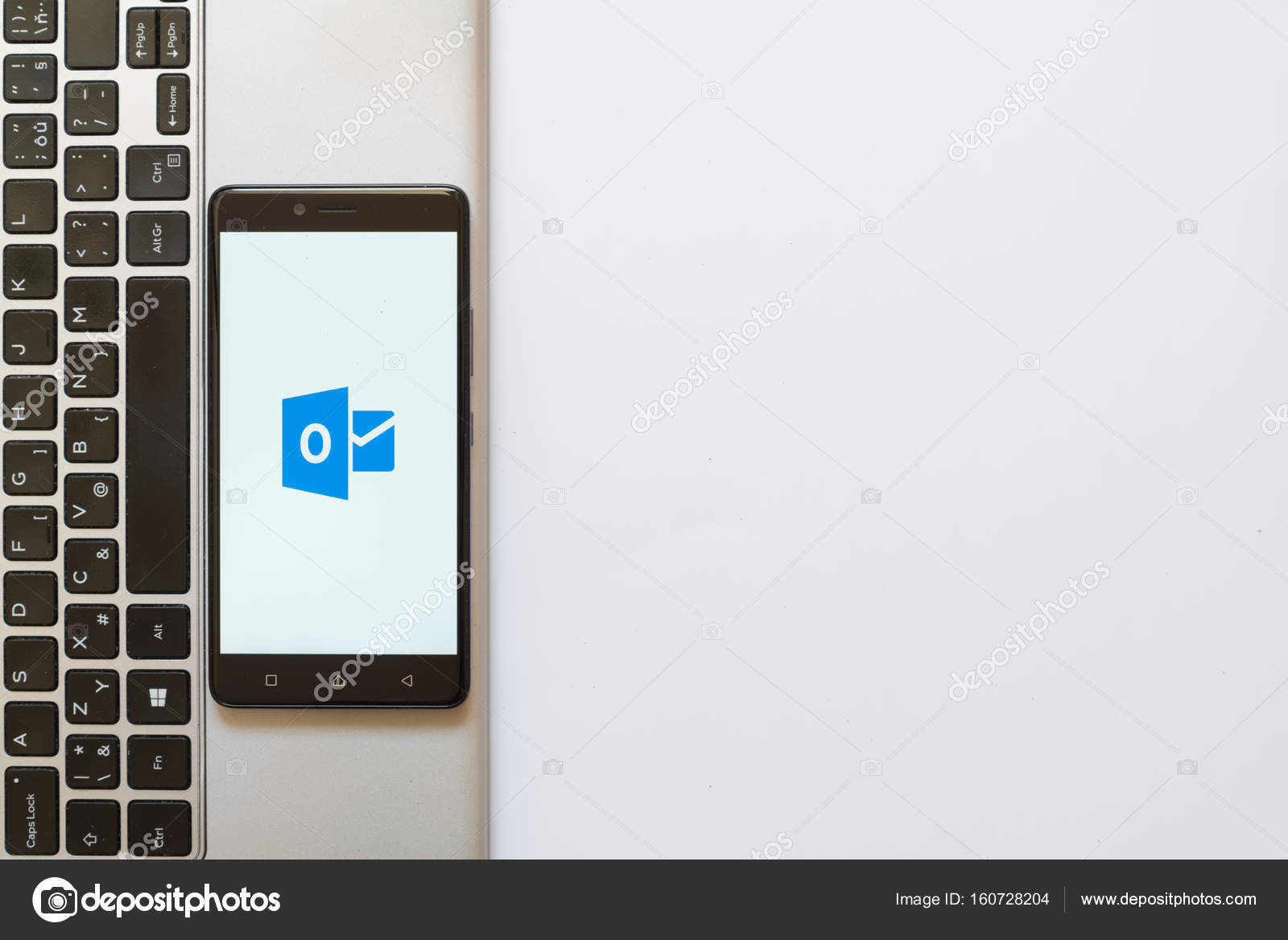 Microsoft Office Outlook Logo On Smartphone Screen Stock Editorial
