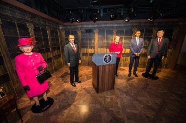 Queen Elizabeth II, Vaclav Havel, Angela Merkel, Barack Obama and Donald Trump in Grevin museum of the wax figures in Prague.